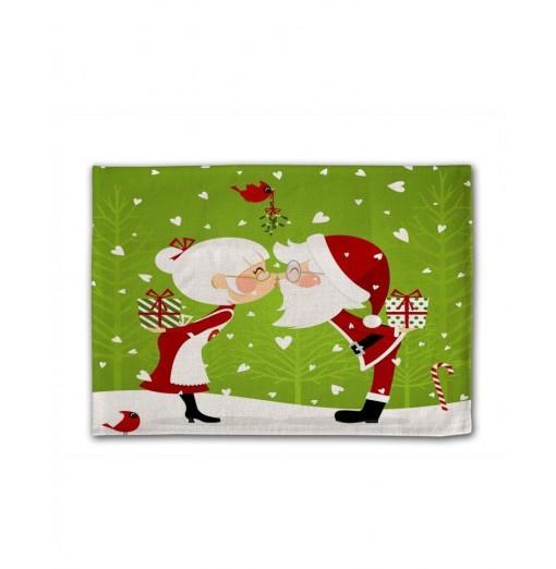 Christmas Couple Digital Single - Sided Printed Linen Table Mat