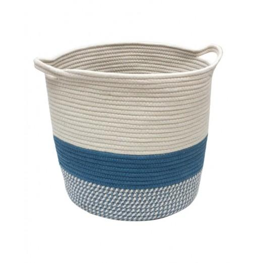 Hand-woven Cotton Rope Storage Basket with Handle