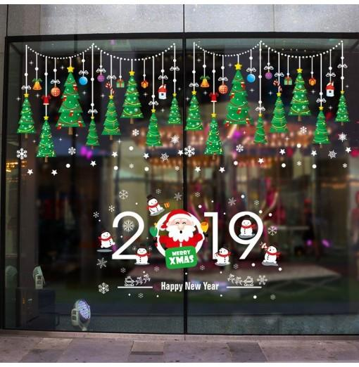 Christmas Tree Window Decoration Storefront Glass Door Sticker XH6255