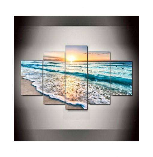 Sunset Beach Frameless Printed Canvas Art Print 5PCS