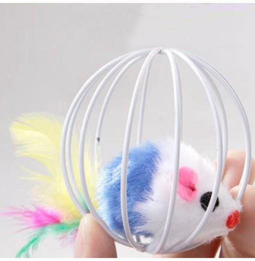 Cage Ball Cage with The Cat Toys with Feathers Rabbit Mouse in A Cage