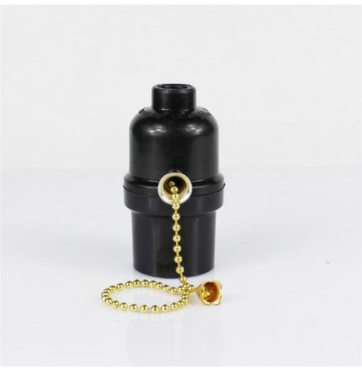 E26 Black Single Screw Plastic Zipper Switch Lamp Holder