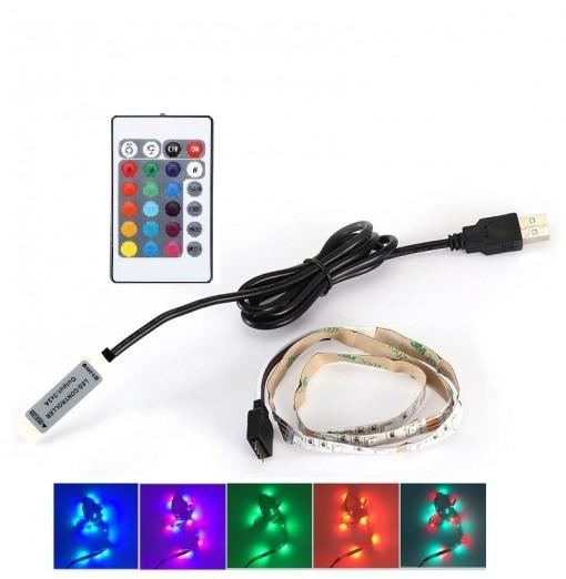 1M 3.5W DC5V USB RGB LED Strip Light with 24 Keys Remote Control Set