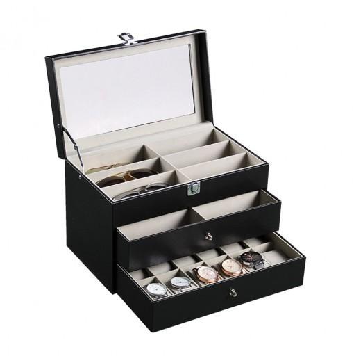 Three-tiered Portable Glasses Watches Storage Box Leatherware