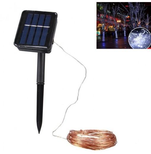 Solar LED String Copper Wire 100 LEDs IP65 Waterproof Holiday Decoration 10M
