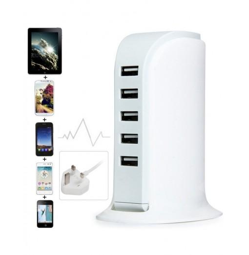 30W 5 USB Ports Charger Over-voltage Protection Power Adapter for iPhone iPad iPod HTC ( 100 - 240V UK Plug )