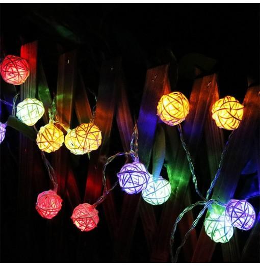 Supli String Light 2M 20 LED Led Garland Rattan Ball Battery Garland Droppartyparty Patio Christmas Wedding Decoration Fairy