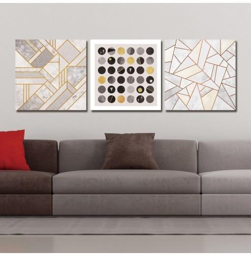 DYC 10040 3PCS Boreal Europe Geometric Graph Print Art Ready to Hang Paintings