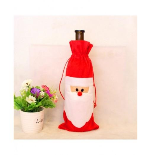 YEDUO Wine Bottle Set Cover Bag Christmas Dinner Table Decoration Home Party Decors Santa Claus