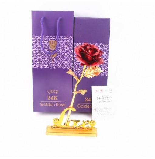 Day Gift 24K Gold Foil Artificial Rose Flower Valentine's Day Birthday Gift Red