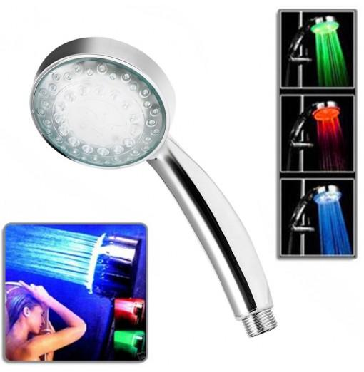 LED Shower Hand-Held Head Water Temperature Control 3 Colors Changing Light Showerhead