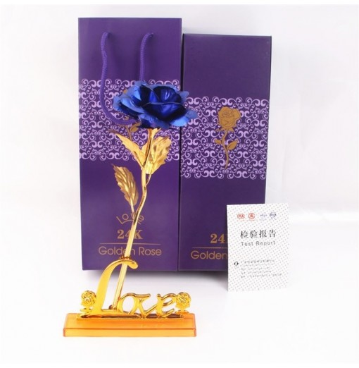 Day Gift 24K Gold Foil Artificial Rose Flower Valentine's Day Birthday Giftblue