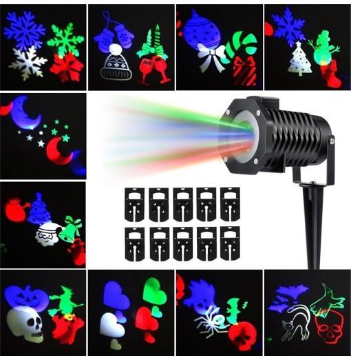 Supli Outdoor Christmas Projector Lights Multicolor Rotating Led Light Projection Waterproof Snowflake Spotlight-10pcs Pattern