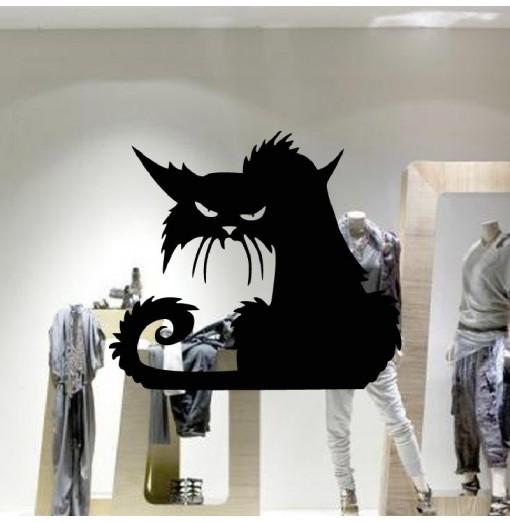 YEDUO 42 x 37cm Halloween Black Cat Window Wall Larger Sticker Decoration