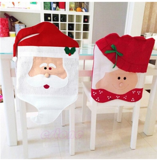 2PCS Santa Claus Chair Covers for Christmas Table Decorations