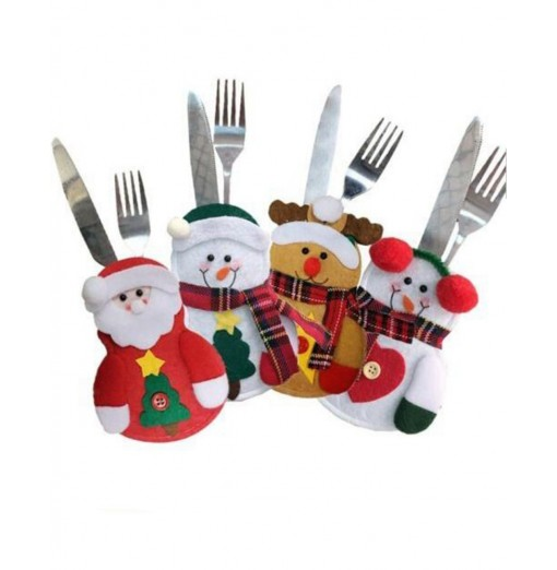 4pcs Christmas Decoration Santa Claus Snowman Elk Knife and Fork Storage Bag
