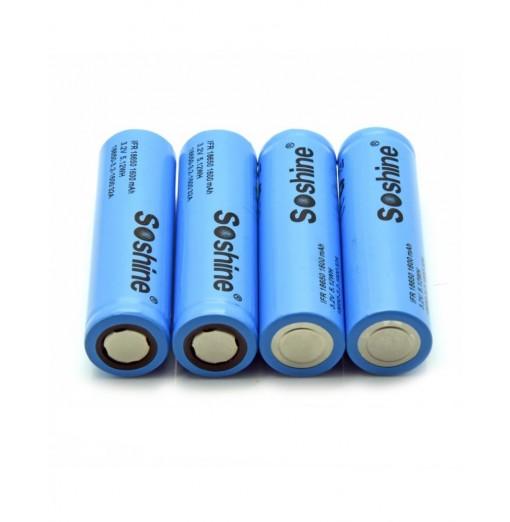 Soshine 18650 LiFePO4 Battery 1600mAH 3.2V 4PCS