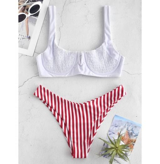 Striped Shirred Underwire Bikini Set