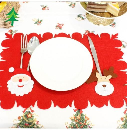 Santa Christmas Table Mat Knives and Forks Decoration