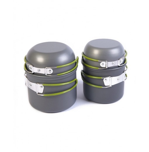 Camping Pot Pan Set Portable Cooking Tool Foldable Cookware with Carrying Bag