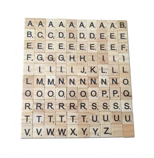 100PCS Creative Wood Chip DIY English Alphabet Baby Intelligence Development