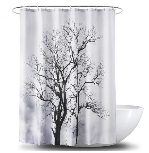 3D Big Tree Printing Polyester PA Coating Waterproof Shower Curtain