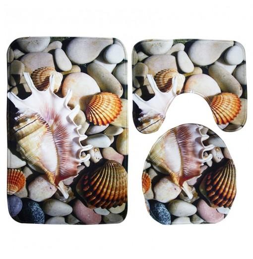 Starfish Shell Pattern 3pcs Bath Mat Toilet Mat