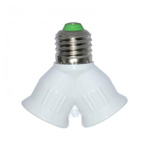 1PC Fireproof E27 To 2 E27 LED Bulbs Socket Adapter Lamp Holder Converter