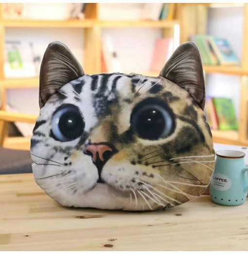 3D Painting Big Eye Cat Throw Pillow and Cushion