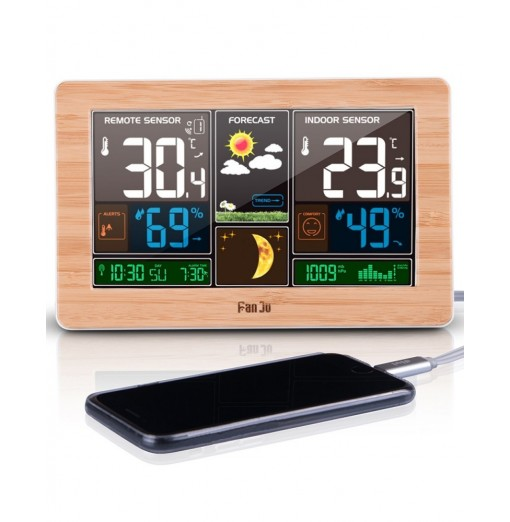 FanJu FJ3378 Weather Station Indoor Outdoor Temperature USB Charger