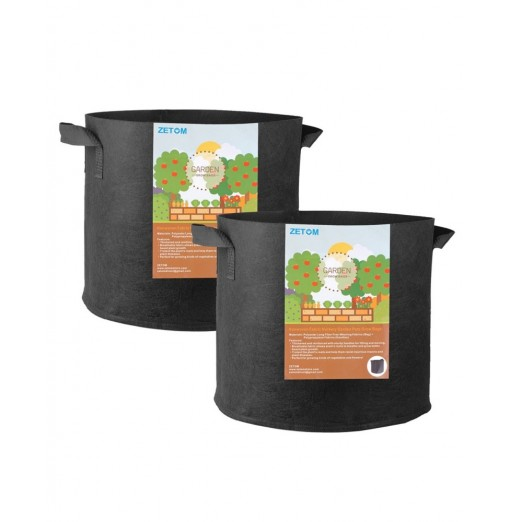 ZETOM Grow Bags 5 Gallon Thickened Nonwoven Fabric Pots Nursery Garden Pots with Handles Plant Container 2-Pack