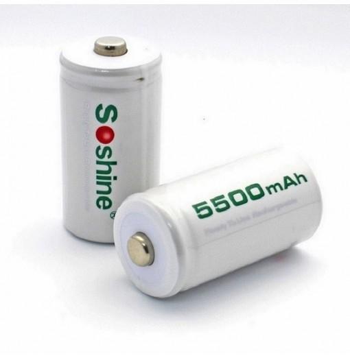 Soshine C Size R14 Rechargeable Batteries Ni-MH 1.2V 5500mAh 2PCS