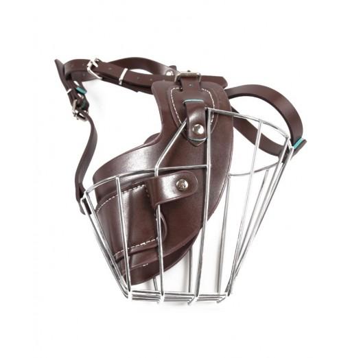 Adjustable Leather Iron Cage Dog Muzzle Mask for Anti-bite