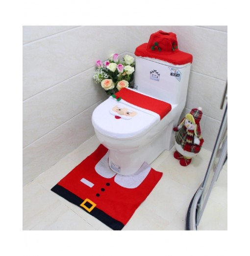 Yeduo New Year Best Gift Happy Christmas Santa Toilet Seat Cover Rug Bathroom Decorations