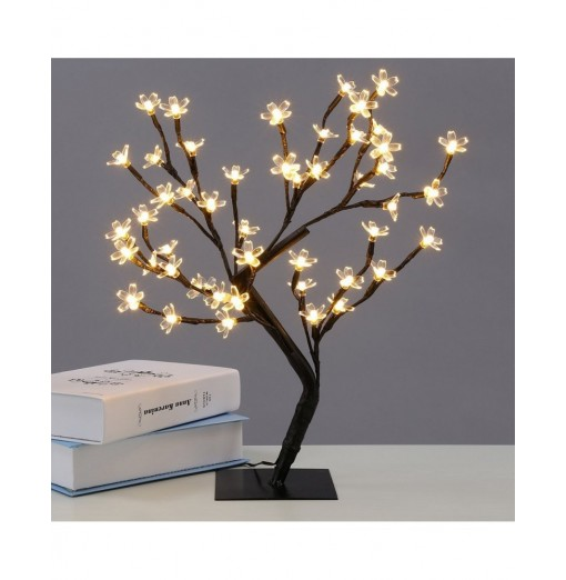 0.45M/17.72Inch 48LEDS Cherry Blossom Desk Top Bonsai Tree Light Perfect for Home Festival Party Wedding