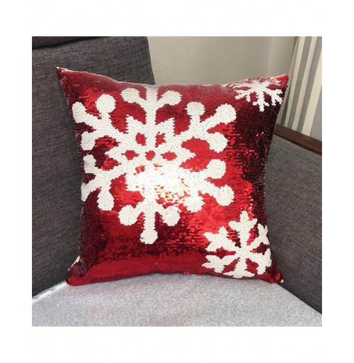 Christmas Snowflake Deer Head Pattern Sequins Positioning embroidering pillow