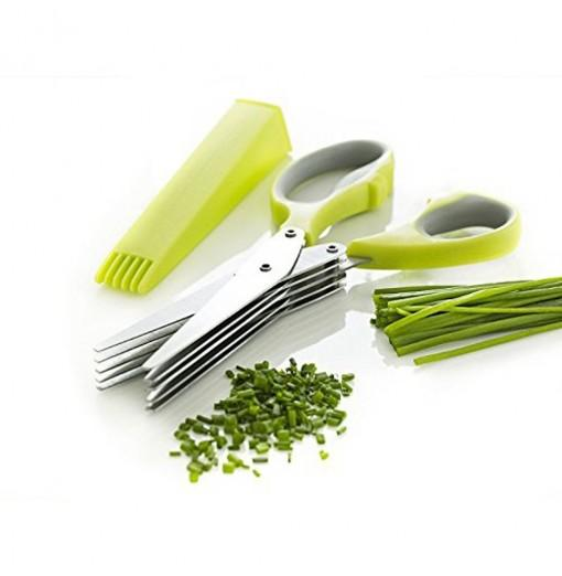Herb Scissors Multipurpose Kitchen Mincing Shear 5 Blades and Cover Stainless Steel