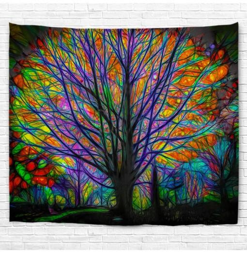 Glowing Tree 3D Printing Home Wall Hanging Tapestry for Decoration