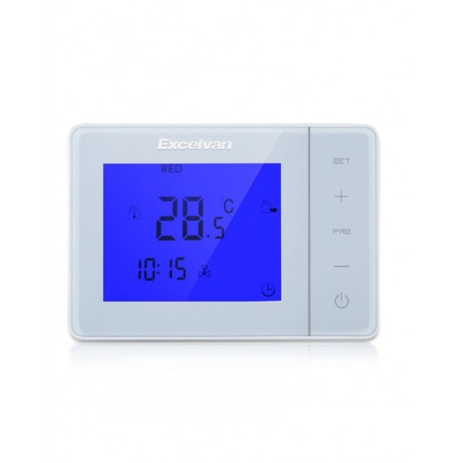 Excelvan Digital Large Screen LCD Display Electric Heating Thermostat with Blue Backlight HY01WE White