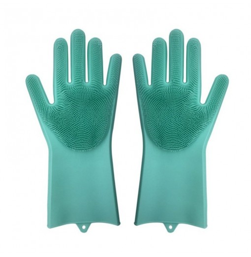 A Pair Magic Silicone Scrubber Rubber Cleaning Gloves Kitchen Helper