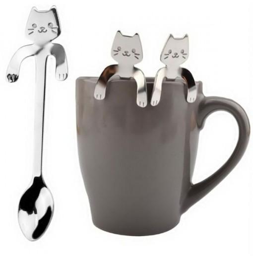 Cute Cat Pattern Flatware Long Handle Spoon
