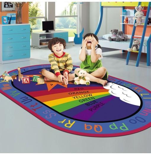 Living Room Floor Mat Modern Cartoon Colorful Oval Supple Antiskid Mat