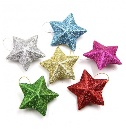 6PCS/Lot 5CM DIY Gillter Stars Christmas Pendant Ornament