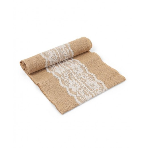 108 x 12 inch Jute Cloth Lace Table Runner Wedding Party Decoration