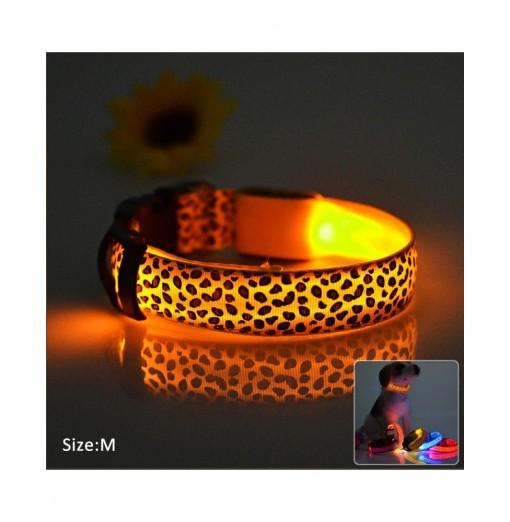 Leopard Print LED Collar Luminous Puppy Necklace Pet Decorative Props
