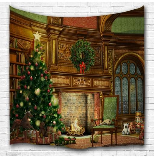 Christmas Fireplace 3D Printing Home Wall Hanging Tapestry for Decoration