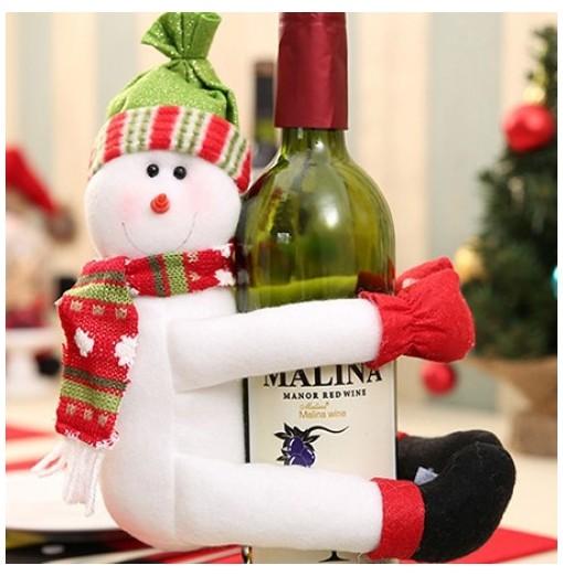 Snowman Bearhug Style Wine Bottle Cover / Decoration for Christmas
