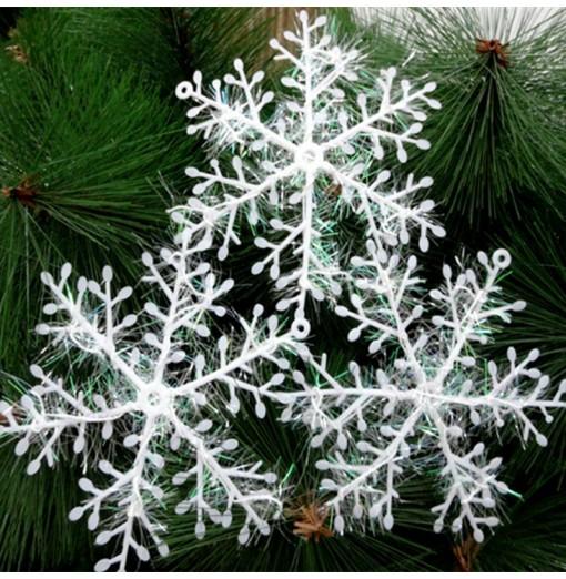 XM1 12PCS Christmas Decoration White Snowflake Ornaments 11CM