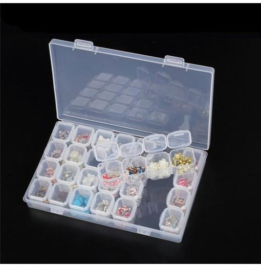 Clear Plastic 28 Slots Nail Art Tools Jewelry Display Storage Box