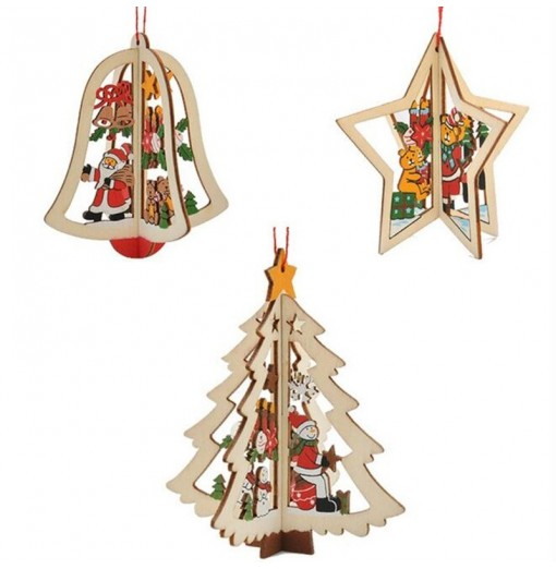 WS 3PCS Christmas Tree Ornament Accessories Wooden Bell Star Stereo Holiday Products